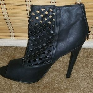 JustFab Black Peeptoe Stiletto Cutout Ankle Bootie